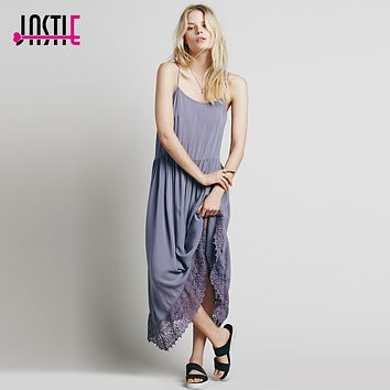 Jastie Fashion Boho Summer Style Asymmetry Beach Lace Maxi Dress Loose Women Summer Dresses 2017 Easy Breezy Crochet Slip