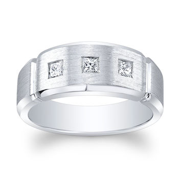 Men's Platinum wedding band 0.35 ctw G color VS2 clarity Princess Cut diamonds