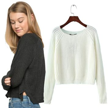 crop  casual sexy women sweaters