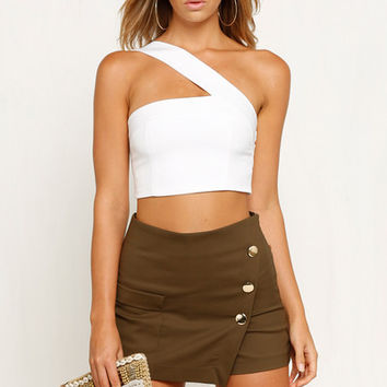 On Nights Like These One Shoulder Ivory Crop Top
