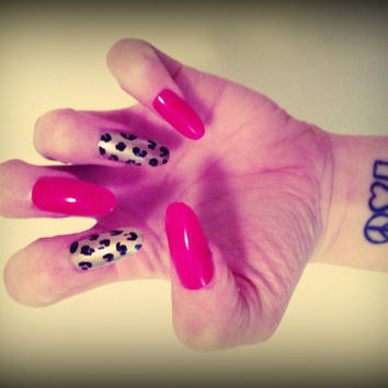 Set of Artificial Nails - Red and Leopard Stiletto