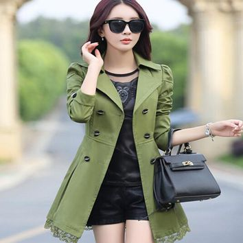 2017 new spring autumn women coat medium-long trenchcoat women's Trench Coat long Outerwear loose clothes