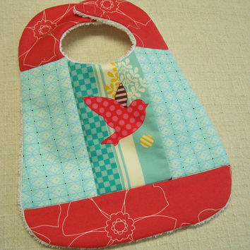 Designer Baby Bib - Red Bird and Aqua - Terry Cloth Back - Quilted, White