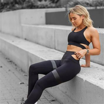 New Hot Sale Women Yoga Sets Gym Elastic Running Sport Suit Fitness Clothing Workout Sportswear Sports Bra + Pants