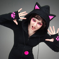 Hoodie black cat pink ears long kitty kawaii by PaperCatsPL