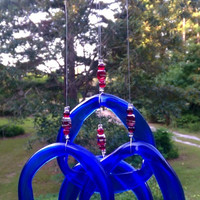 Illume Glass Studio Recycled Blue Wine Bottle Wind Chime with Glass Beads with Copper Hanger