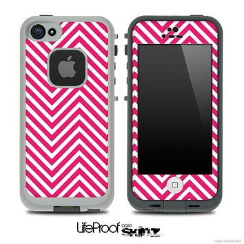 V3 Chevron Pattern Pink and White Skin for the iPhone 5 or 4/4s LifeProof Case