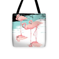 """Pink Flamingos tropical 1980s abstract pop art nouveau graphic art retro stylized florida print Tote Bag for Sale by Walt Curlee (13"""" x 13"""")"""