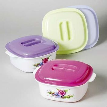 Food Storage Container - Floral Design with Dome Lid