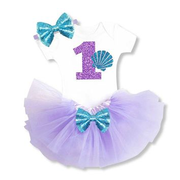 Little Mermaid Princess Girl Baby Clothing Sets 1st Birthday Outfits First Halloween Christmas Gift Tutu Toddler Baby Girl Suits