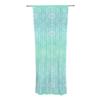 "Suzie Tremel ""Medallion Aqua Ombre"" Blue Teal Decorative Sheer Curtain"
