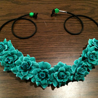 Emerald Rose Flower Headband, Flower Crown, Flower Halo, Festival Wear, EDC, Coachella, Ezoo,Ultra Music Festival, Rave