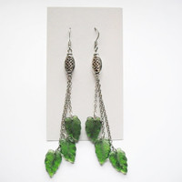 Long dangle earrings celtic pattern metal bead and 3 leaves, women girl teen fashion, fairy elven nature jewelry, women gift, birthday gift
