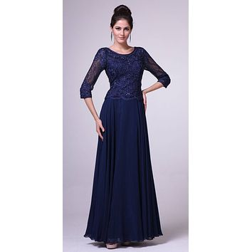 Mid Length Lace Sleeve Mother of Groom Dress Navy Blue Long