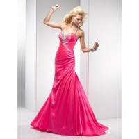 Fabulous and Stylish Beaded Sweetheart Neckline with Halter Strap Rouched Satin Column Prom Dress - Basadress.com