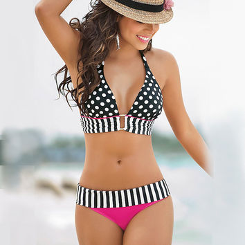 5XL Large size swimsuit polka dot tops swimwear black white bikinis set high waisted bathing suit striped bottoms swimming wear
