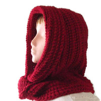 New Design Hooded Scarf - Red. Scoodie, Men, Women, Hood & Scarf Combo, Hoodie, Fashion Accessories, Winter Warmers