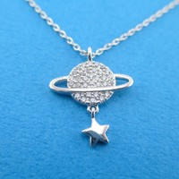 Saturn Planet Shaped Rhinestone Pendant Necklace with Dangling Star