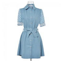 Newest Summer Half Sleeve Lace Cuffs Lapel Denim Dress Sky Blue L - Default