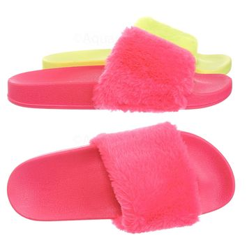 Flatter15 Faux Fur Neon Molded Slipper Sandal - Women Slide In Slides Flats