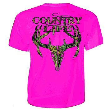 Country Life Outfitters Pink Camo Realtree Deer Skull Head Hunt Vintage Bright T Shirt