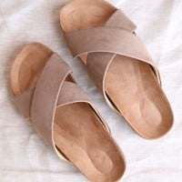 wrapped around you slip on wrap sandals - light taupe