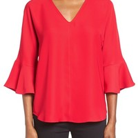 Pleione Bell Sleeve V-Neck Top | Nordstrom