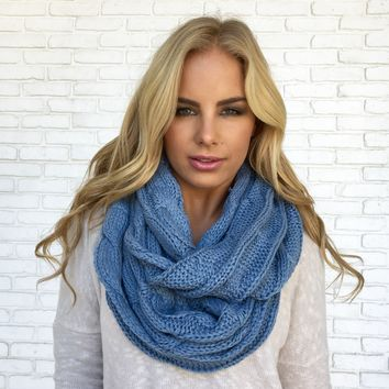 Cozy Knit Infinity Scarf in Blue