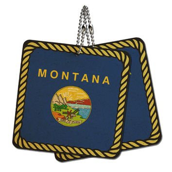 """Montana State Flag Wood MDF 4"""" x 4"""" Mini Signs Gift Tags"""