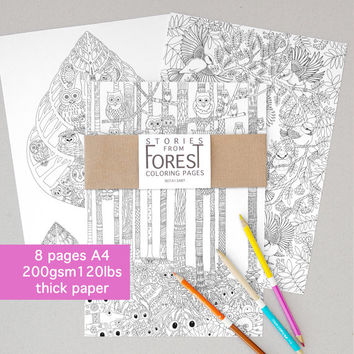 8 Coloring Book Pages – Stories from Forest -  Thick Cardstock paper - Adult Coloring page – Art Therapy Zen coloring – Nature coloring book