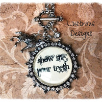 "Werewolf Necklace ""Show Me Your Teeth"" glass pendant with Tibetan silver wolf charm and Swarovski crystal - Twilight - Lady Gaga - Jacob"