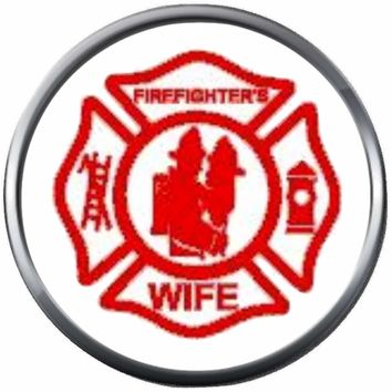 Red Maltese Cross Firefighter Man And Wife Thin Red Line Courage Under Fire 18MM-20MM Snap Charm Jewelry New Item