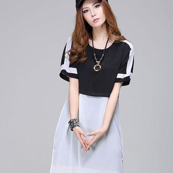Summer Split Chiffon One Piece Dress [4915018692]