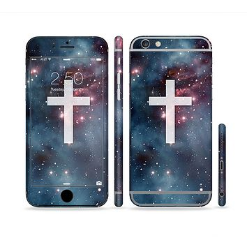 The Vector White Cross v2 over Bright Pink Nebula Space Sectioned Skin Series for the Apple iPhone6s Plus