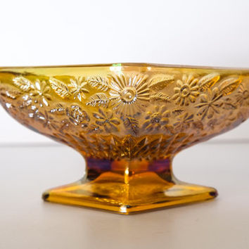 Carnival Glass Candy Dish Amber Color