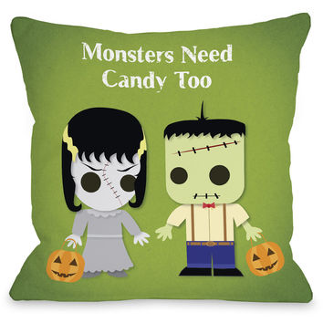 """""""Monsters Need Candy Too"""" Indoor Throw Pillow by OneBellaCasa, 16""""x16"""""""