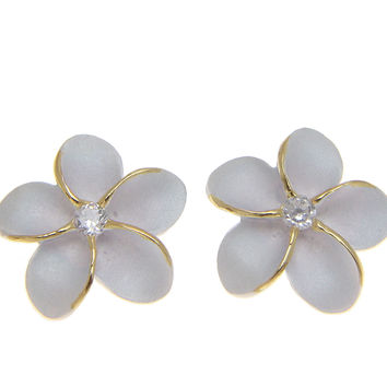 STERLING SILVER 925 HAWAIIAN PLUMERIA FLOWER EARRINGS POST STUD 15MM 2T YELLOW