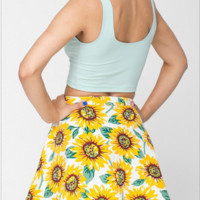 Sunflower Print A Line Skirt B0014605