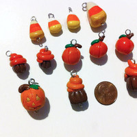 Assorted Halloween Charms, Fall Charms, Polymer Clay Charms, Autumn Charms, Pumpkin charms, cupcake charms, candy corn charms, kawaii charms