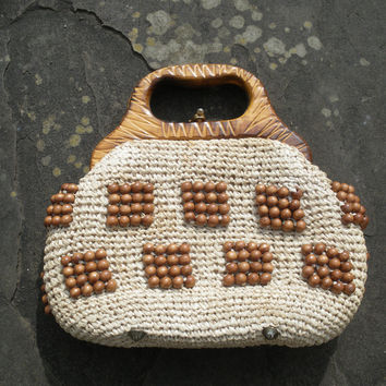 Vintage 60s Tapestry embroidered Raffia wood bead bag