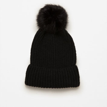 RIB KNIT HAT WITH POM-POM DETAILS