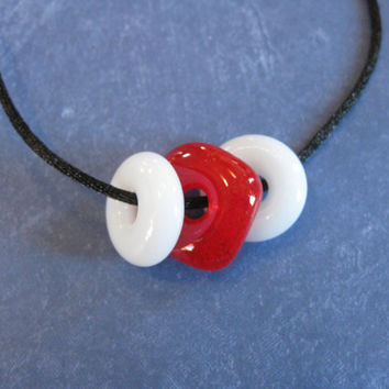 Red and White Necklace, Mini Donut Necklace, Red and White Jewelry, Etsy Fashion - Eagan - 4055 -2
