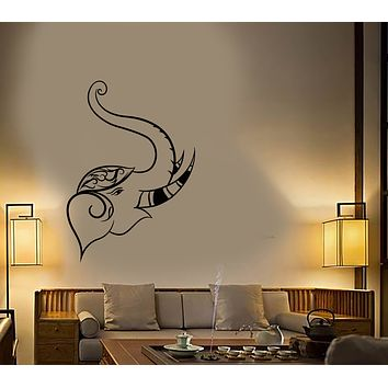 Vinyl Wall Decal Hindu India Elephant Head Buddhism Stickers (3455ig)