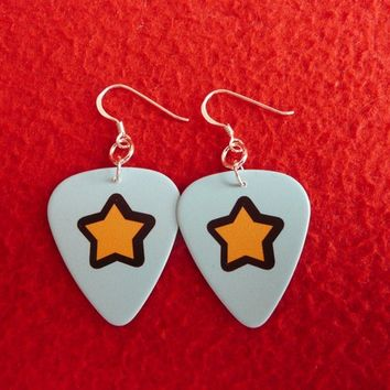 Guitar Pick Earings - Light Blue with Stars from Momiji Gashapon