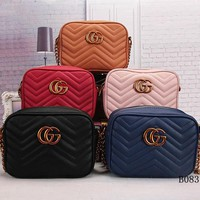 Gucci Women Fashion Leather Chain Satchel Shoulder Bag Handbag Crossbody