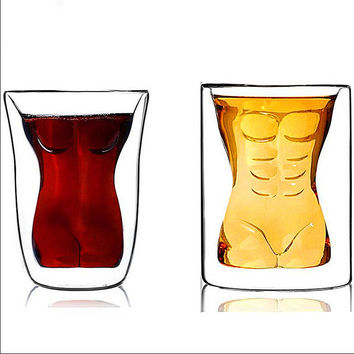 Transparent Glass Crystal Men Woman Body Shape Couple Cups Romantic Mug Vodka Shot Wine Mugs Glassware Gift for Lovers Gift