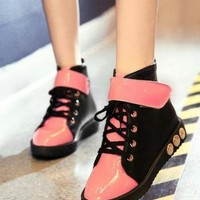 European Style & American Style Cross Straps Rivet PU Patent Leather Flat Shoes_Flat Shoes_Shoes_Women_Fashion Clothing Online, Wholesale, Wholesale Fashion Clothing, Cheap Fashion Clothing Store Online - Group The World, shopping all world