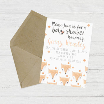 Printable Fox Baby Shower Invitation // Download Baby Shower Invites // Gender Neutral Baby Shower Invitations