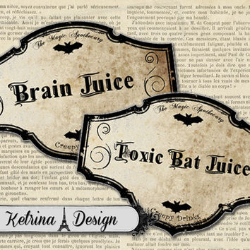 Creepy Drinks Halloween Jar Bottle Labels instant download digital collage sheet