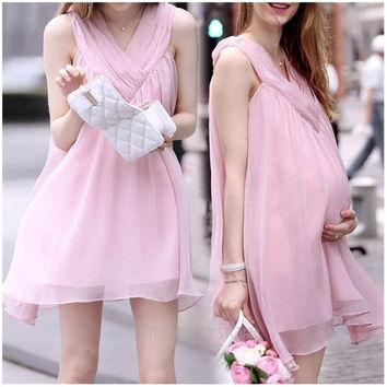 Summer Fashion Casual Women Chiffon Sleeveless Maternity Pregnant Beads Dress = 1946808772
